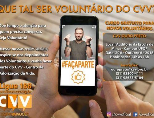 CVV de Ouro Preto-MG precisa de voluntários para prevenção ao suicídio; inscrição para o curso já começou